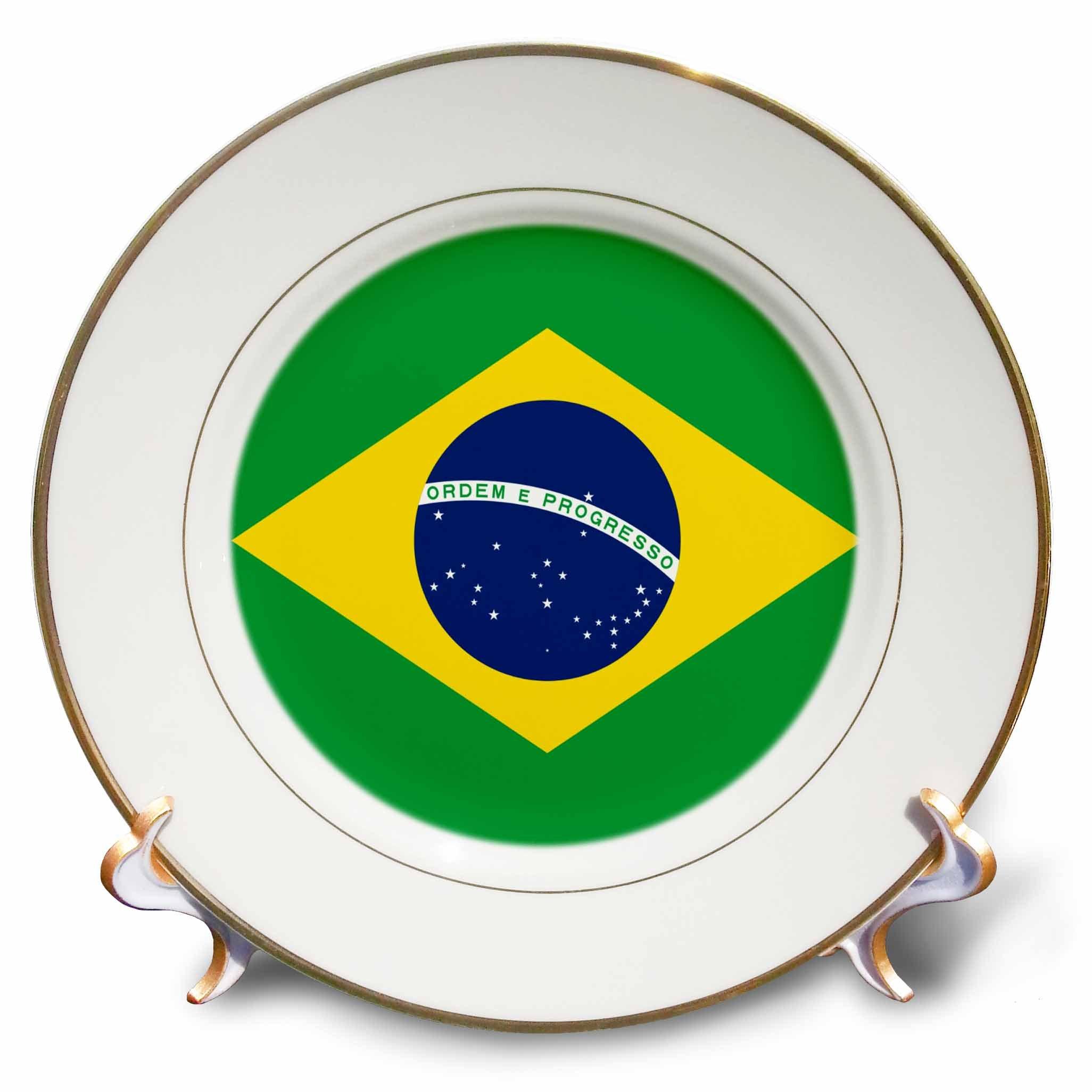 e70554a6a33 Galleon - 3dRose Cp 157837 1 Flag Of Brazil Bandeira Do Brasil Brazilian  Green Yellow Rhombus With Dark Blue Circle 27 Stars Porcelain Plate