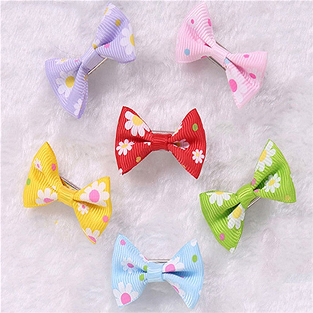 Catnew 6 Pcs Dog Cat Puppy Hair Clips Hair Bow Tie Flower Bowknot Hairpin Pet Grooming Hair Accessories