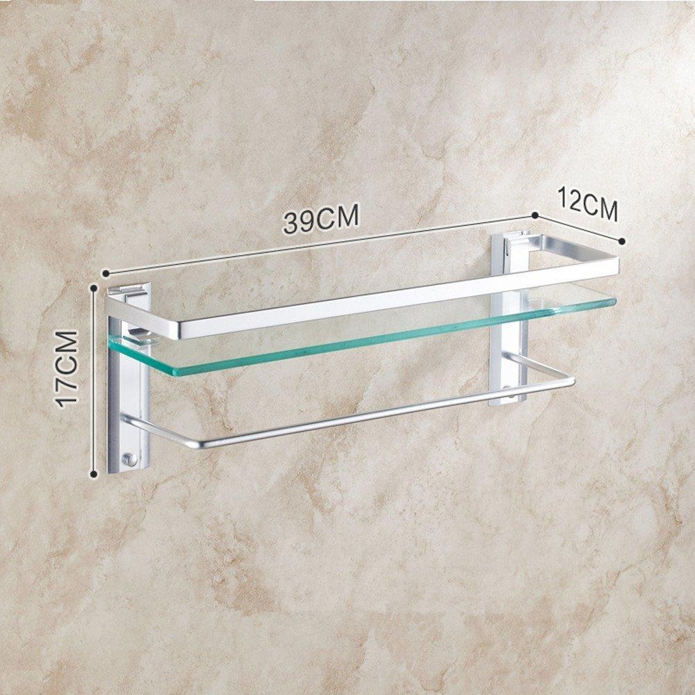 HOMEE Space Aluminum Bathroom Glass Shelf Bathroom Cosmetics Rack Towel Rack,D by HOMEE