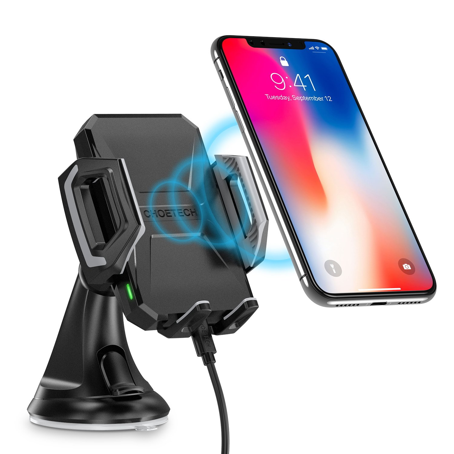 Wireless Car Charger, CHOETECH USB Type C 7.5W Wireless Car Charging Mount Stand Compatible iPhone X/8/8 Plus,10W Fast Wireless Charger Holder Compatible Samsung Galaxy S9/S9+/S8/S8+/Note 9/Note 8/S7