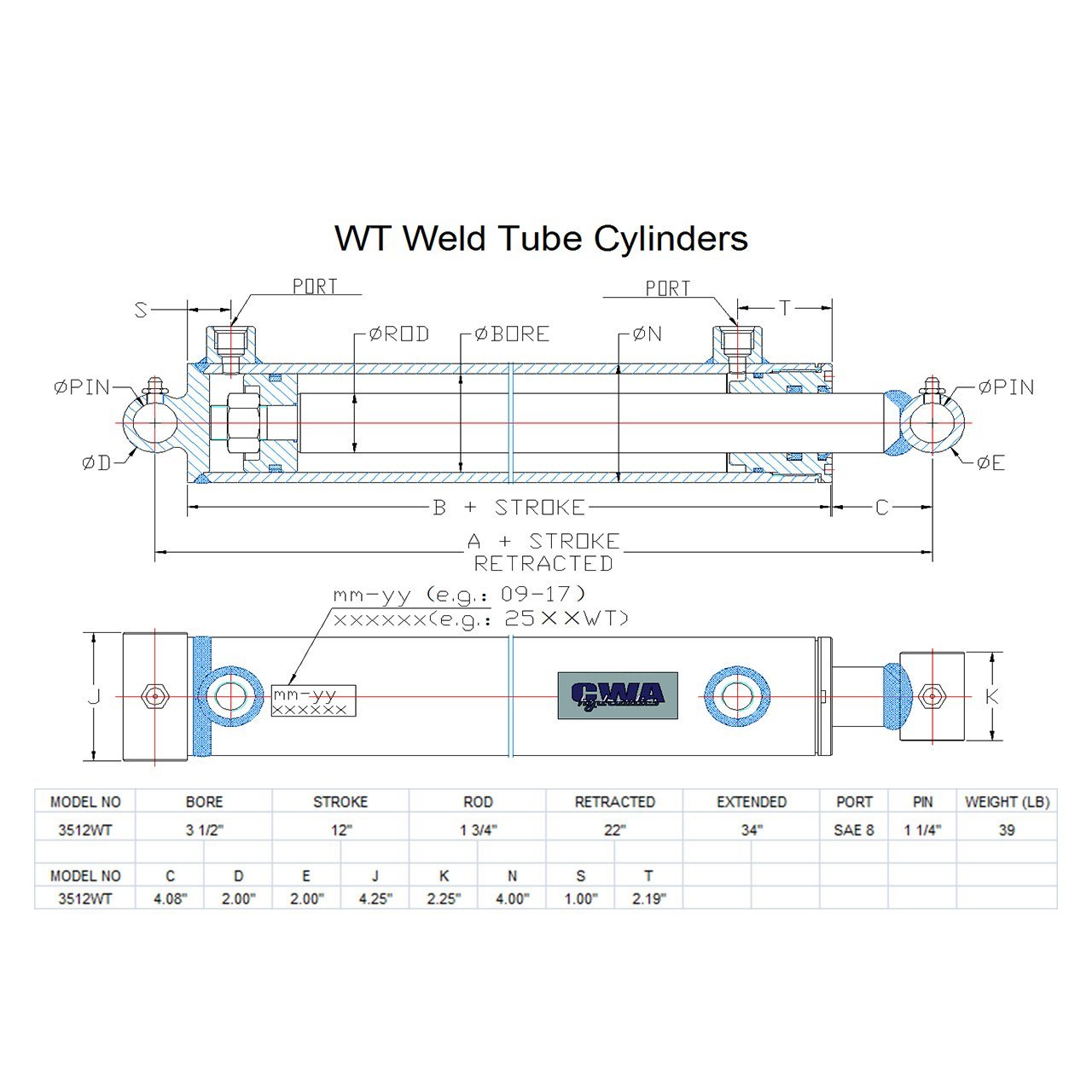CWA Hydraulics WT Weld Cross Tube Hydraulic Cylinder 3 1//2 Bore x 12 Stroke x 1 3//4 Rod x SAE 8 Port x 3000 PSI 3512WT