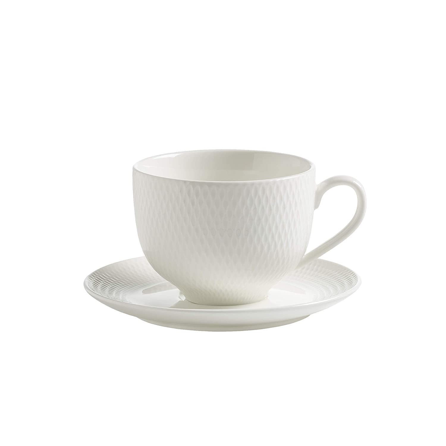 183127897c Maxwell & Williams Basics Diamonds DV0028 Tea Cup and Saucer, Porcelain,  White, 220 ml: Amazon.co.uk: Kitchen & Home