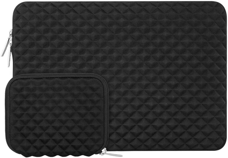 MOSISO Funda Protectora Compatible con 13-13.3 Pulgadas MacBook Air/MacBook Pro/Ordenador Portátil, Estilo Diamante Agua Repelente Bolsa Blanda con Pequeño Caso, Negro