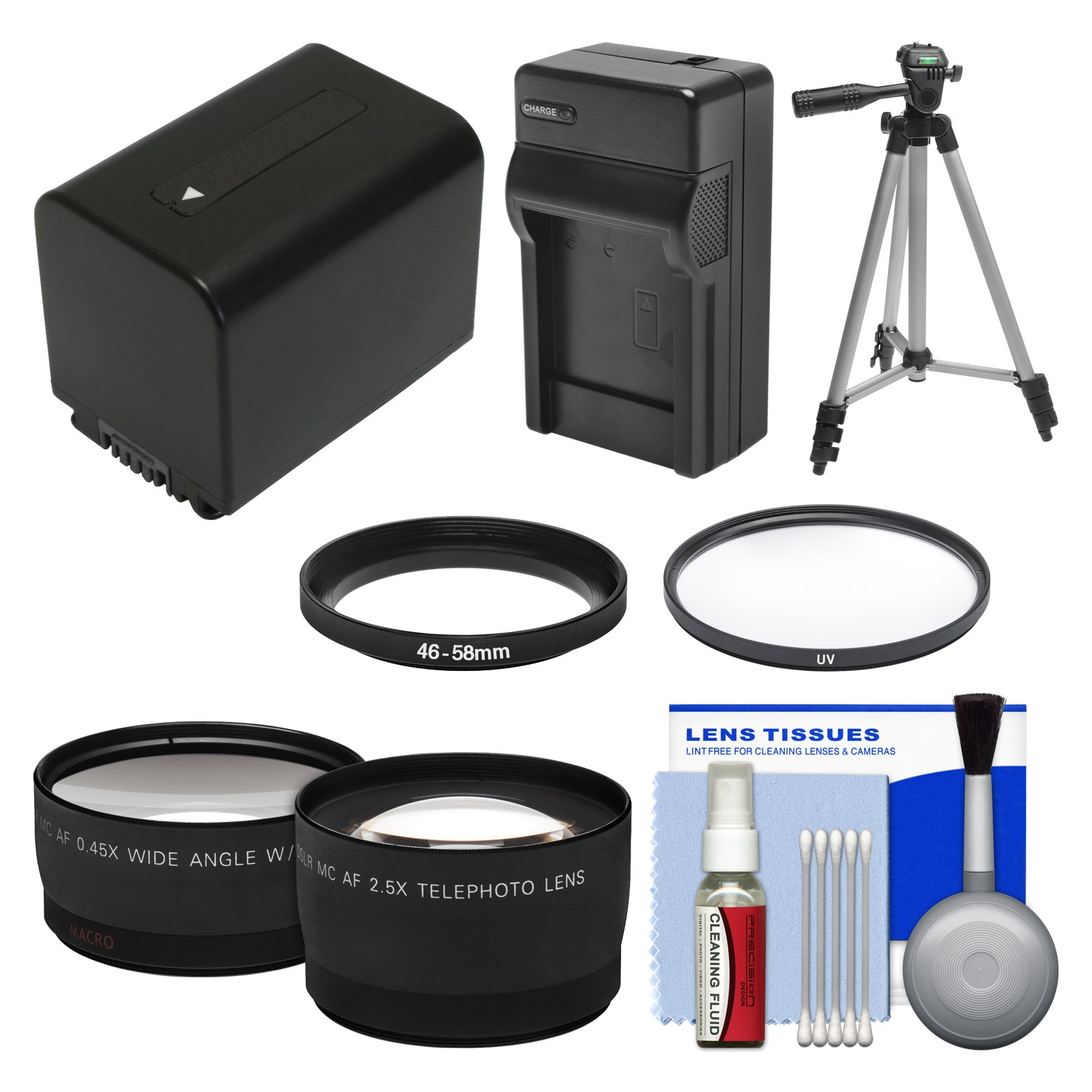 Essentials Bundle for Sony Handycam HDR-PJ540, HDR-PJ670 & HDR-PJ810 Camcorders with NP-FV70 Battery & Charger + Tripod + Filter + Tele/Wide Lens Kit by Unknown