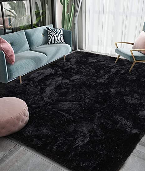 Amazon Com Homore Luxury Fluffy Area Rug Modern Shag Rugs For Bedroom Living Room Super Soft And Comfy Carpet Cute Carpets For Kids Nursery Girls Home 4x6 Feet Black Kitchen Dining