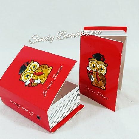 Idea bomboniere originali per laurea con tesi libro gufetto portaconfetti  rosso (Bomboniera fai dai te fa7368fef6be