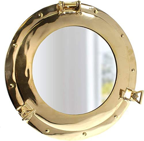 Coastal Space Designs MR 4862-VC New Solid Brass Porthole Mirror 14.5 -Maritime-Ship Nautical Home Decor Boat Fan Gift, Gold
