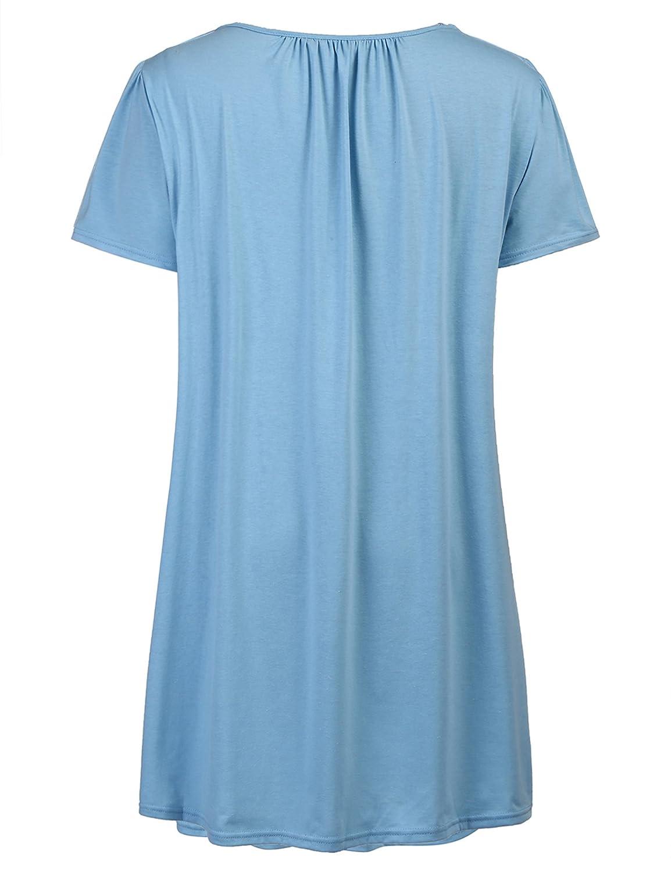 4fa12ac38d Women s Nightgown Plus Size Sleepwear Short Sleeves Sleep Shirt Sexy Lace  Chemise Sleepdress at Amazon Women s Clothing store