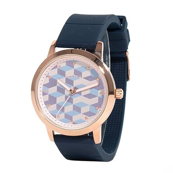 Parfois - Reloj Round - Mujeres - Tallas Única - Azul Marino: Amazon.es: Relojes