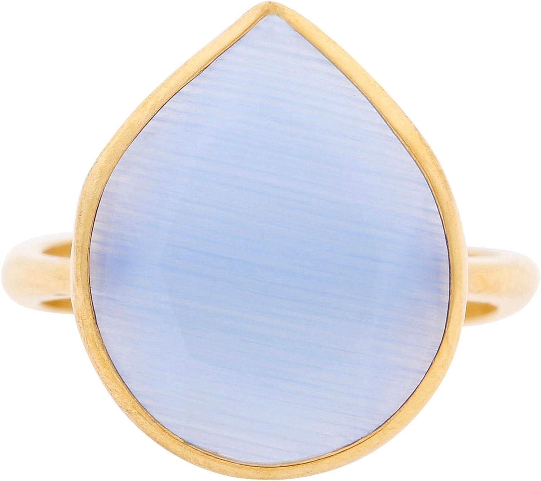 Córdoba Jewels | Anillos en Plata de Ley 925 bañada en Oro con diseño Lágrima Calcedonia Gold