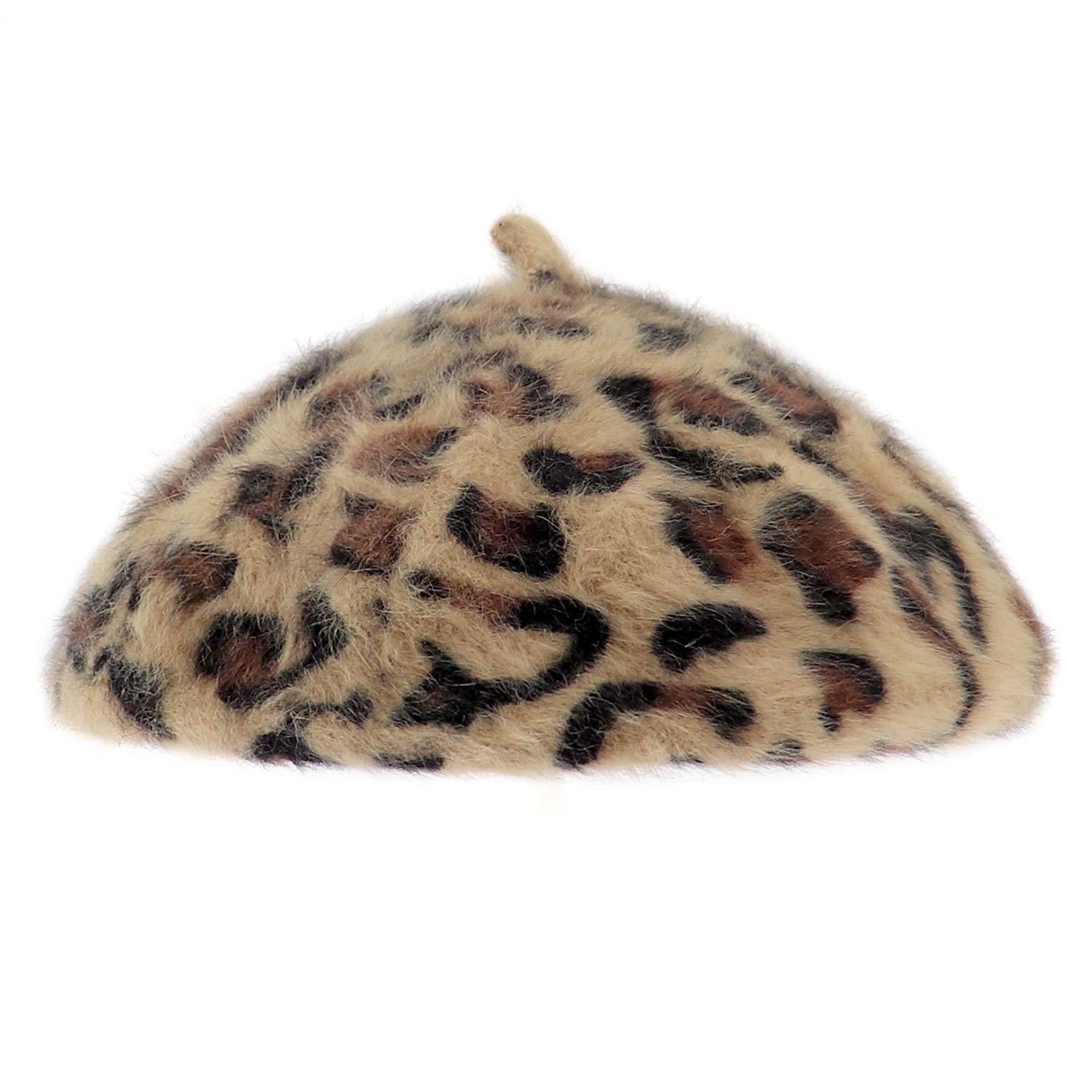 Glamorstar Womens Leopard Beret Vintage Hat