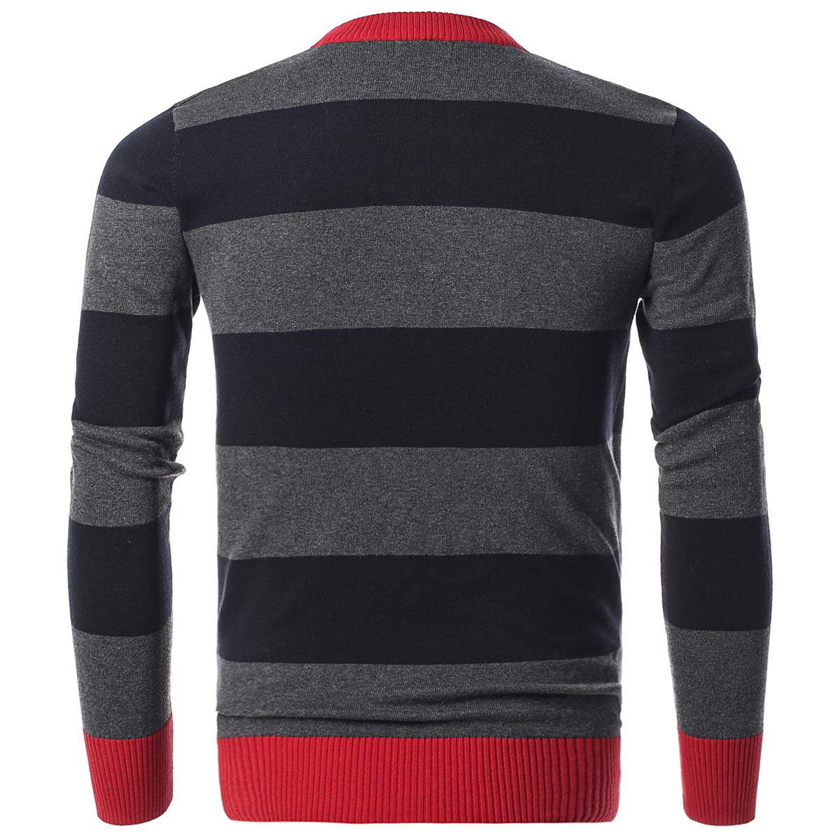 a8bdc9cc3d56cf Amazon.com  Chain Stitch Men s Long Sleeve Striped Pullover Crew Neck  Sweater  Clothing