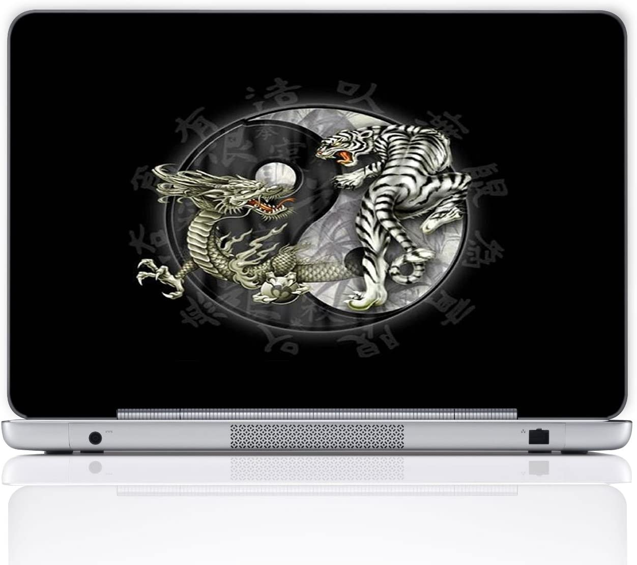 Meffort Inc 15 15.6 Inch Laptop Notebook Skin Sticker Cover Art Decal Free Wrist pad Tiger and Dragon