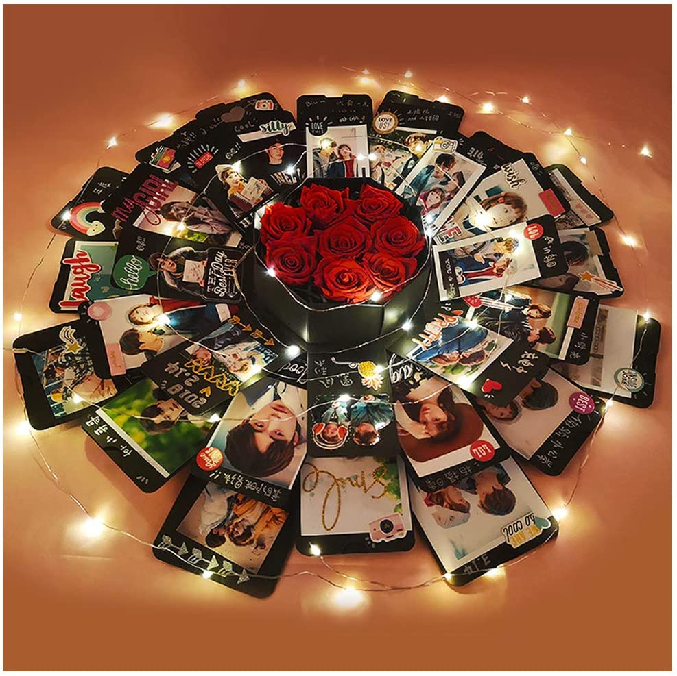 Creative Explosion Box -Scrapbook DIY Photo Album Box for Birthday Anniversary Valentine Day Wedding(Upgrade Version).