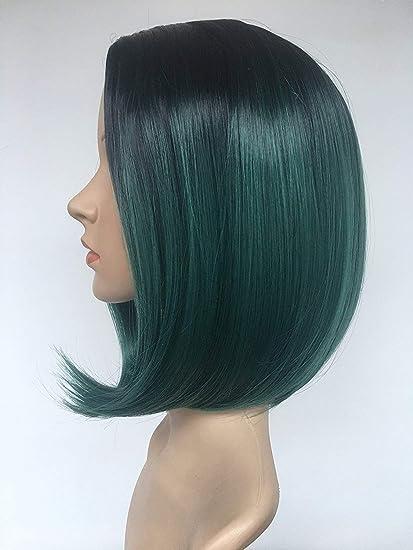 Peluca de pelo corto y lacio, color verde oscuro degradado ...
