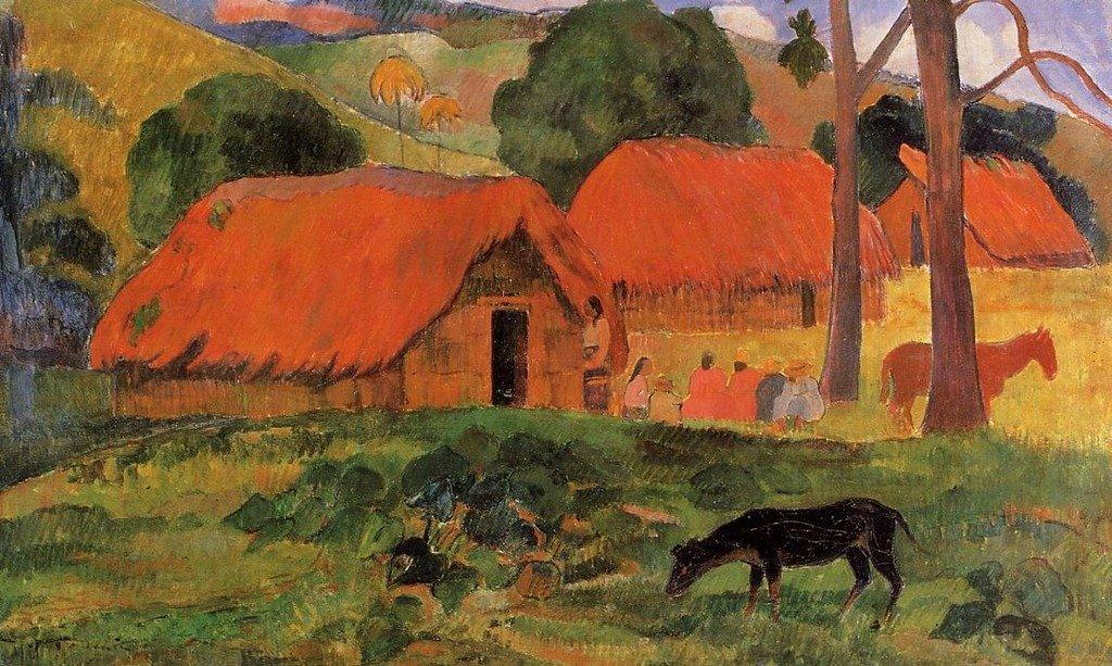 Gauguin Paul Three Huts, Tahiti 100% Hand Painted Oil Paintings Reproductions 12X16 Inch