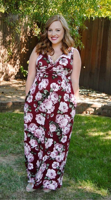 SMALLE ◕‿◕ Clearance Womens Nursing Sleeveless Pregnancy Dress Floral Print Maternity Long Dress