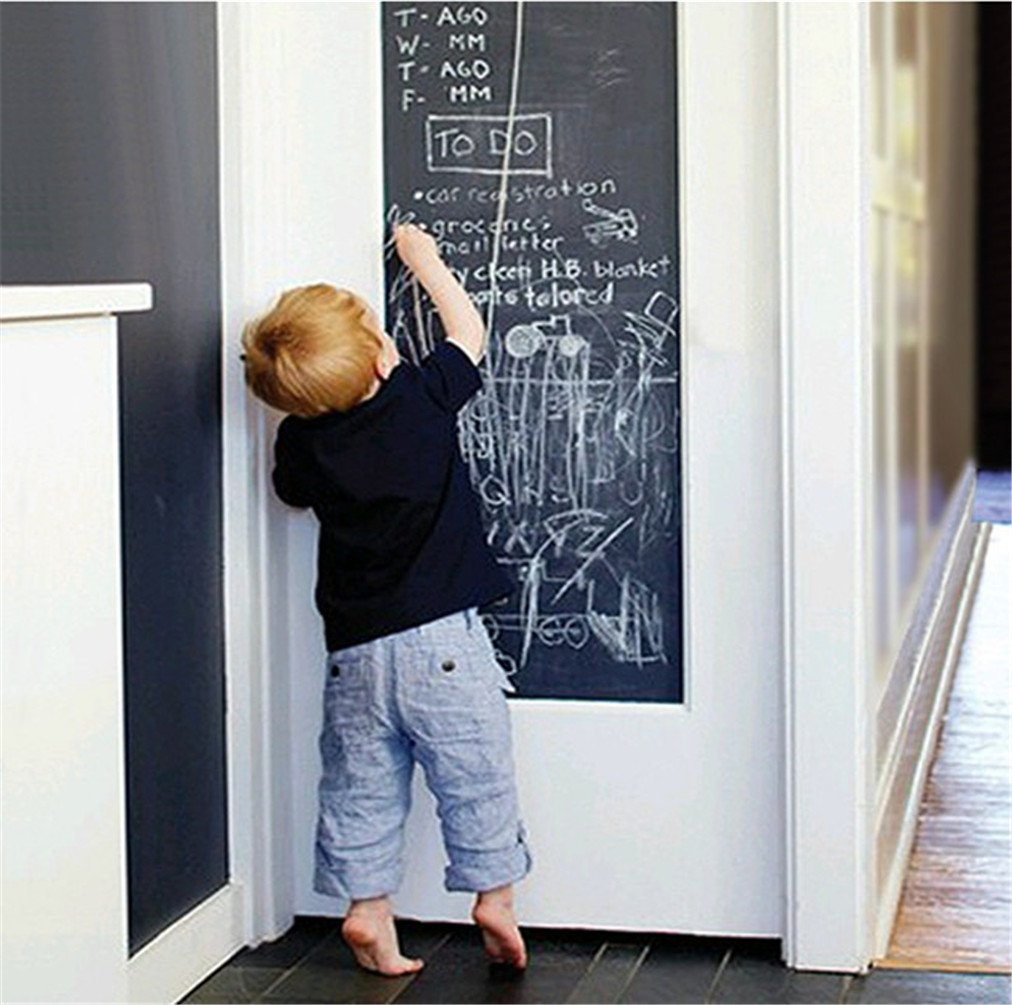 Blackboard Chalk Board Wall Sticker Wrapping Paper For Home School & Office for kids 45cm x 200cm by Stillshine(Contains 5 chalk)