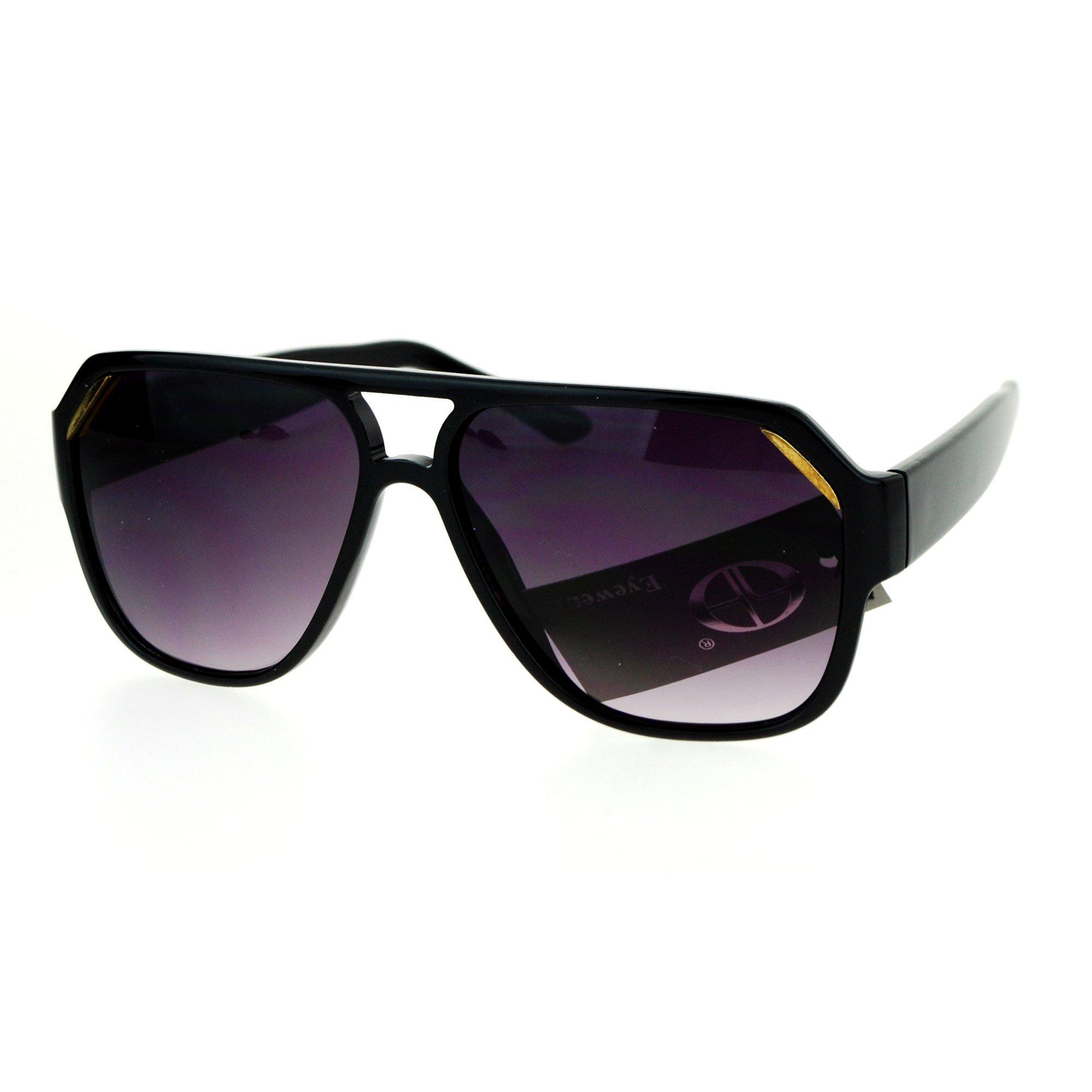 SA106 Mens Mobster Plastic Racer Pilot Sunglasses Black Smoke by SA106
