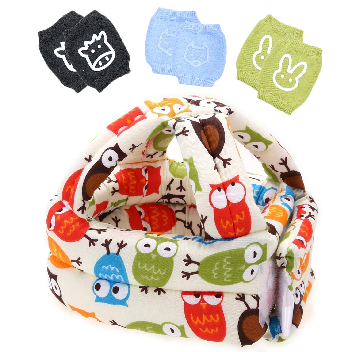 Lightton Toddler Baby Safety Helmet Infant Protective Harnesses Cap Adjustable Printed +3pcs Baby Crawling Anti Slip Knee Pads
