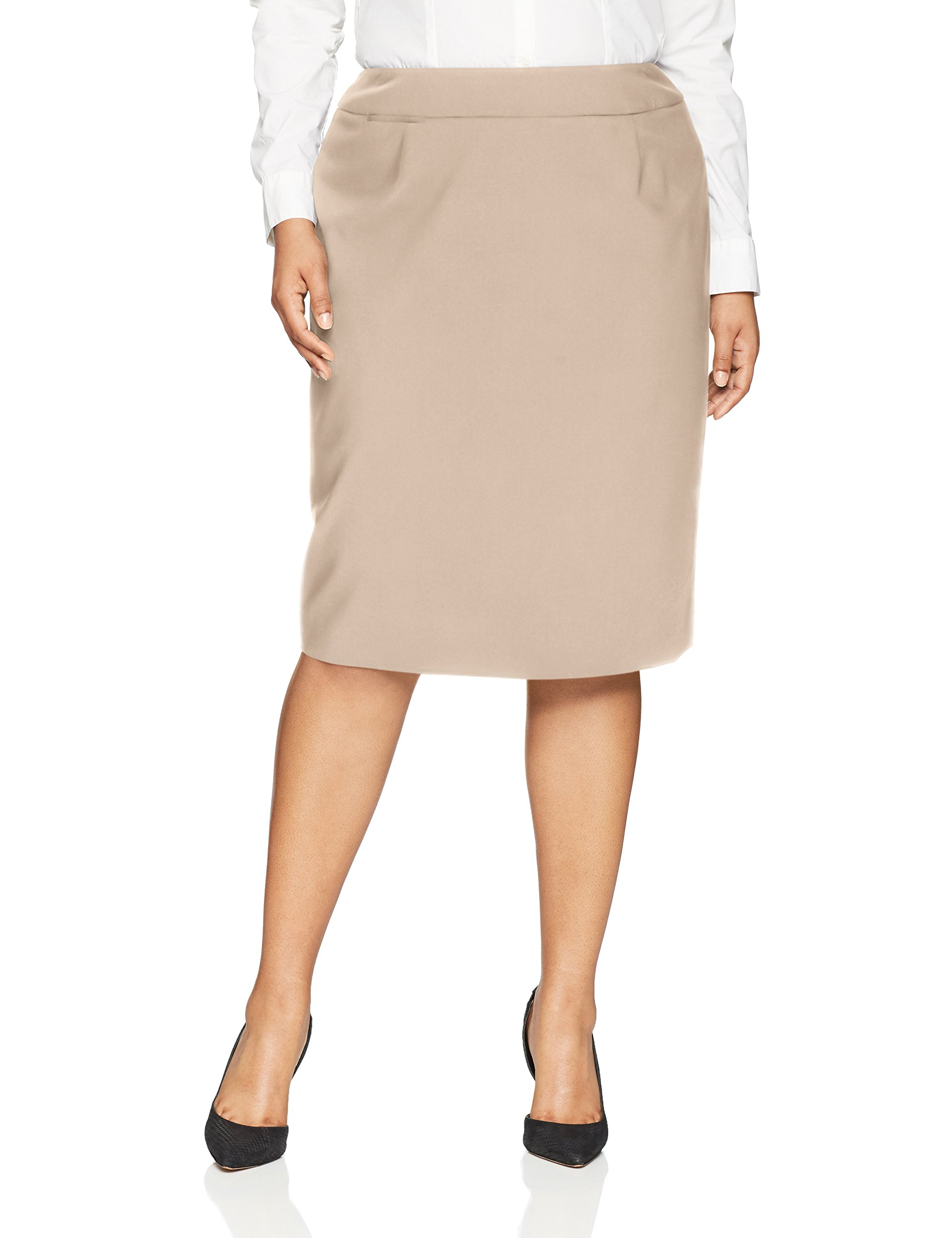 Calvin Klein Women's Plus Size Lux Straight Skirt, Khaki, 16W