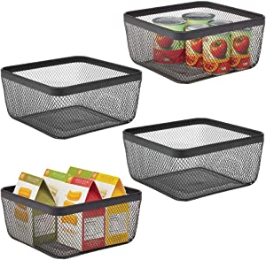mDesign Farmhouse Decor Metal Wire Food Organizer Storage Bin Basket for Kitchen Cabinets, Pantry, Bathroom, Laundry Room, Closets, Garage, 4 Pack - Black