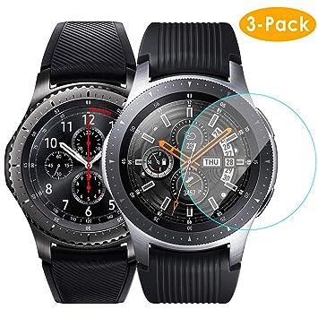 CAVN Protector Pantalla para Samsung Galaxy Watch Gear S3 Frontier/Classic, [Dureza 9H] [Anti-Arañazos] [Anti-huellas] Cristal Vidrio Templado, 4 ...