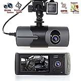 "HARRYSTORE 2.7"" 1080P Vehicle Car DVR Camera Video Recorder Dash Cam G-Sensor GPS Dual Len Camera"