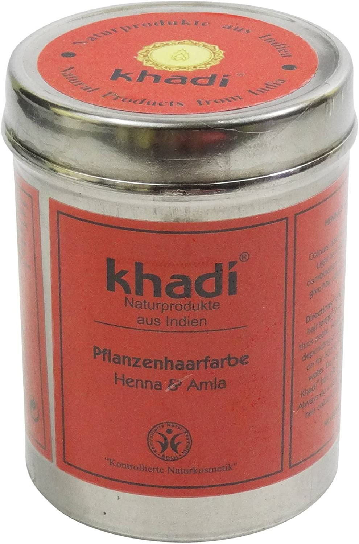 KHADI® Tinte Vegetal Henna & Amla - Tiñe tu cabello de manera natural - Hidrata el cabello - Cubre las canas