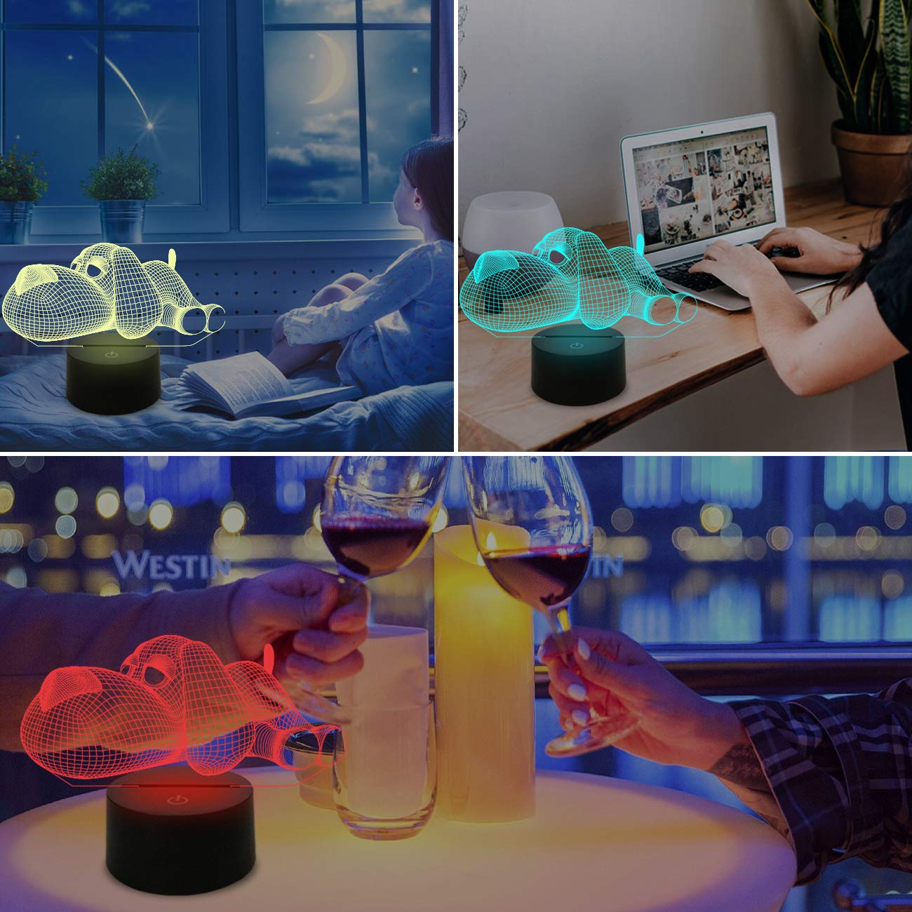 Rugby Illusion Lamp for Sport Fan with 7 Colors Changing Touch Control Boys Bedroom D/écor Creative Kids Birthday Xmas Gifts Toys FULLOSUN Football 3D Night Light