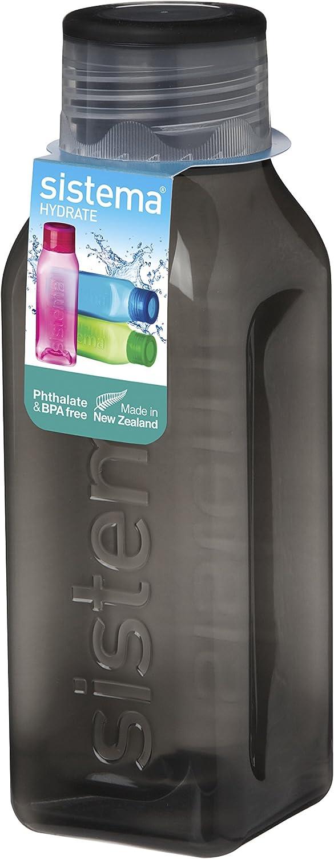 Blue Assorted Colours Sistema BPA Free Stackable Square Bottle 460 ml 475 ml /& Twist n Sip BPA Free Water Bottle