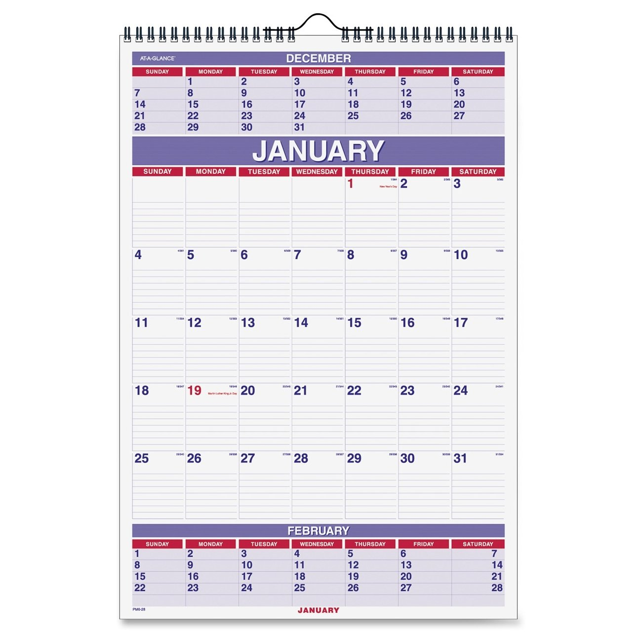 AT-A-GLANCE 3-Month Wall Calendar (AAGPM628) by AT-A-GLANCE