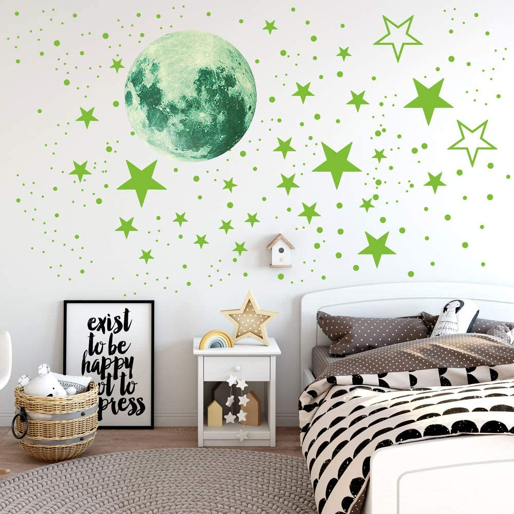 Luminous Wall Stickers 435Pcs Set Glow In The Dark Stickers Luminous Stars And Moon For Childrens Room Decoration
