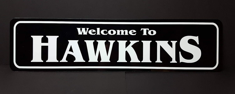 Cartel de Metal con Texto en inglés Welcome to Hawkins ...