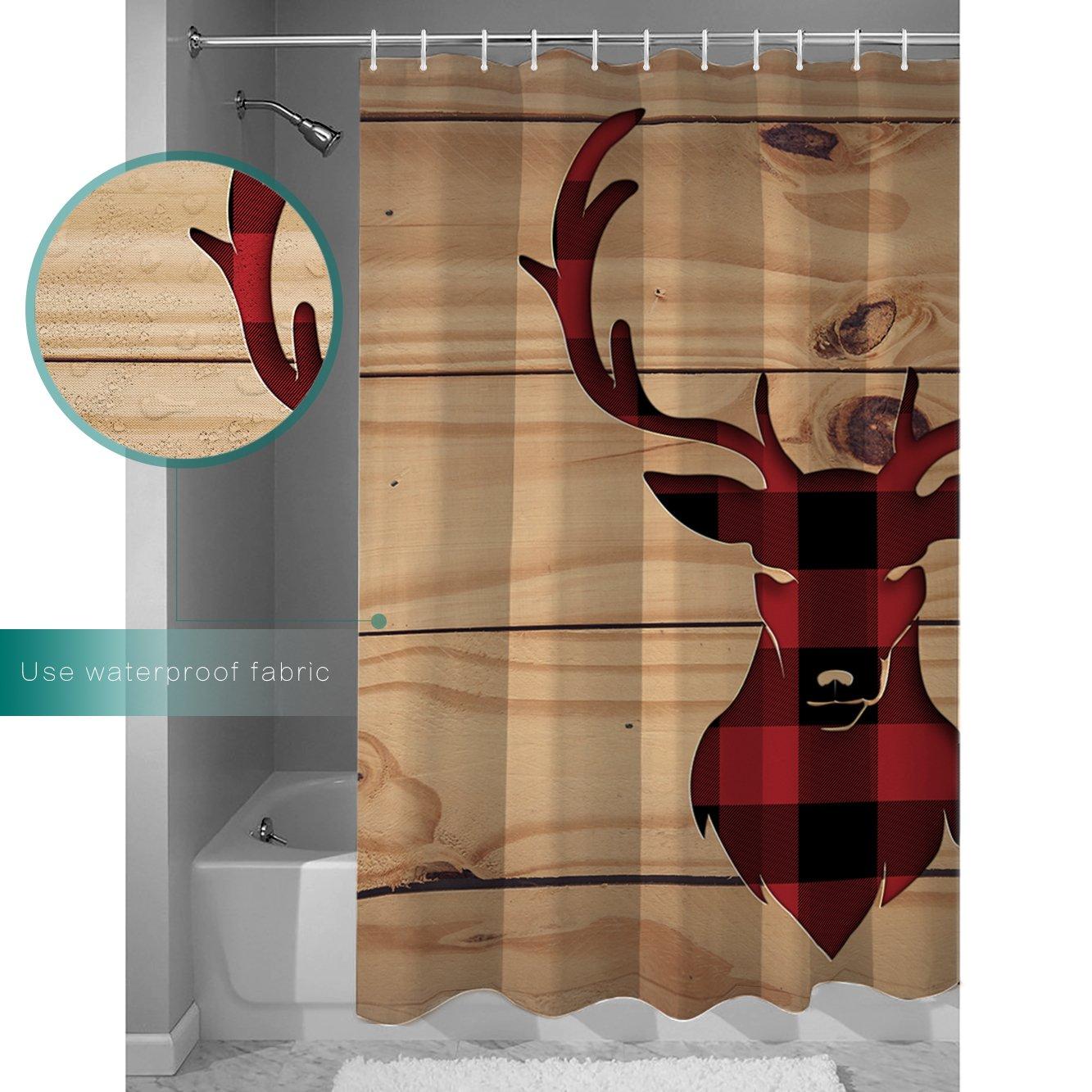 Libaoge Red Black Buffalo Check Plaid Deer Head Mildew Free Waterproof Polyester Fabric Bathroom Shower Curtain