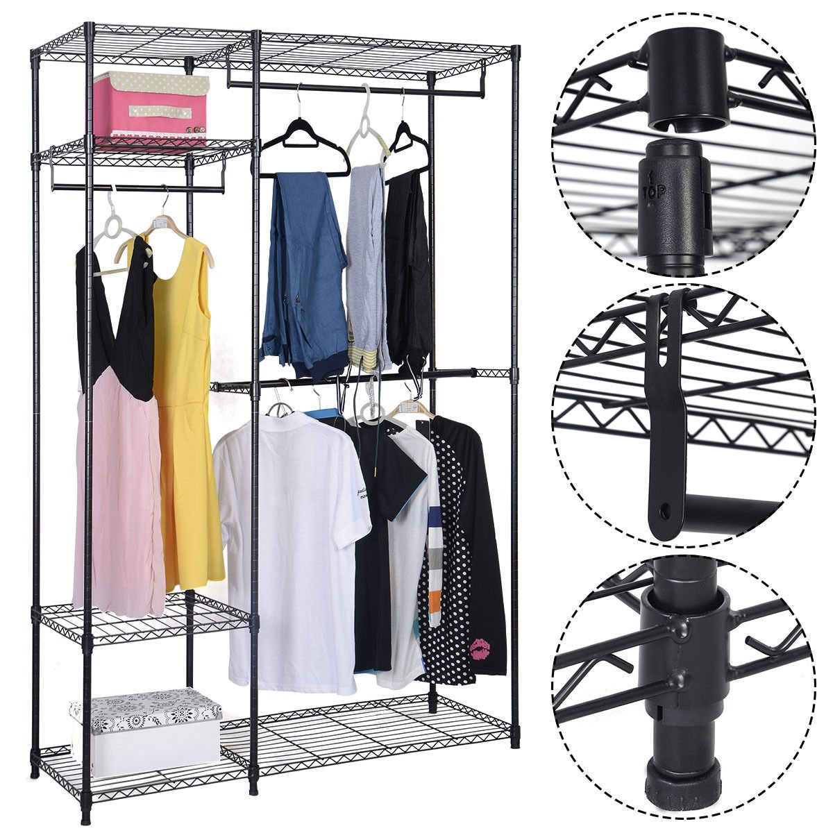 48''x18''x71'' Closet Organizer Garment Rack Portable Clothes Hanger Home Shelf
