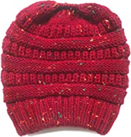 678a054549e ... SUleeBF Women s BeanieTail Soft Stretch Cable Knit Messy High Bun  Ponytail Hat Winter Cap ...