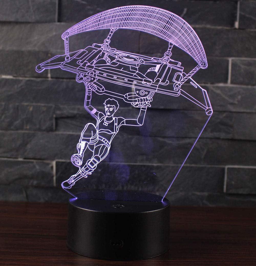 3D Lámpara óptico Illusions Luz Nocturna, CKW 7 Colores Cambio de Botón Táctil y Cable USB para Cumpleaños, Navidad Regalos de Mujer Bebes Hombre Niños Amigas (Gliding)