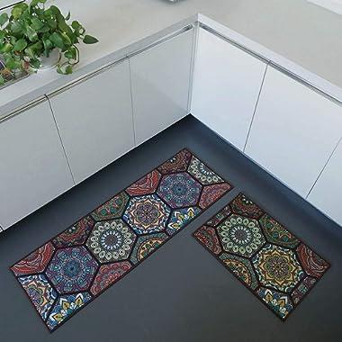 iisutas 2 Piece Non-Slip Kitchen Mat Runner Rug Set Doormat Vintage Design Baroque Style,Hexagon (15 x47 +15 x23 )