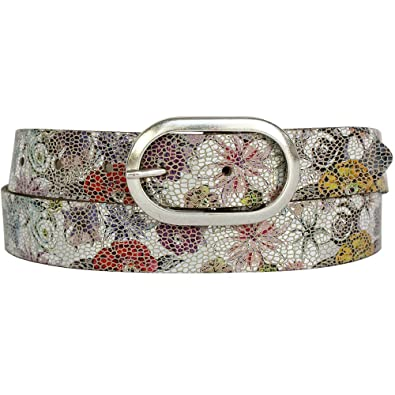 575989193d43c8 Vanzetti Damen Leder Gürtel Metallic Damengürtel 30 mm Ledergürtel mit  floralem Print: Amazon.de: Schuhe & Handtaschen