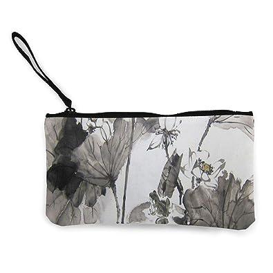 Amazon.com: Monedero Lotus y Rana japonés de pintura de ...
