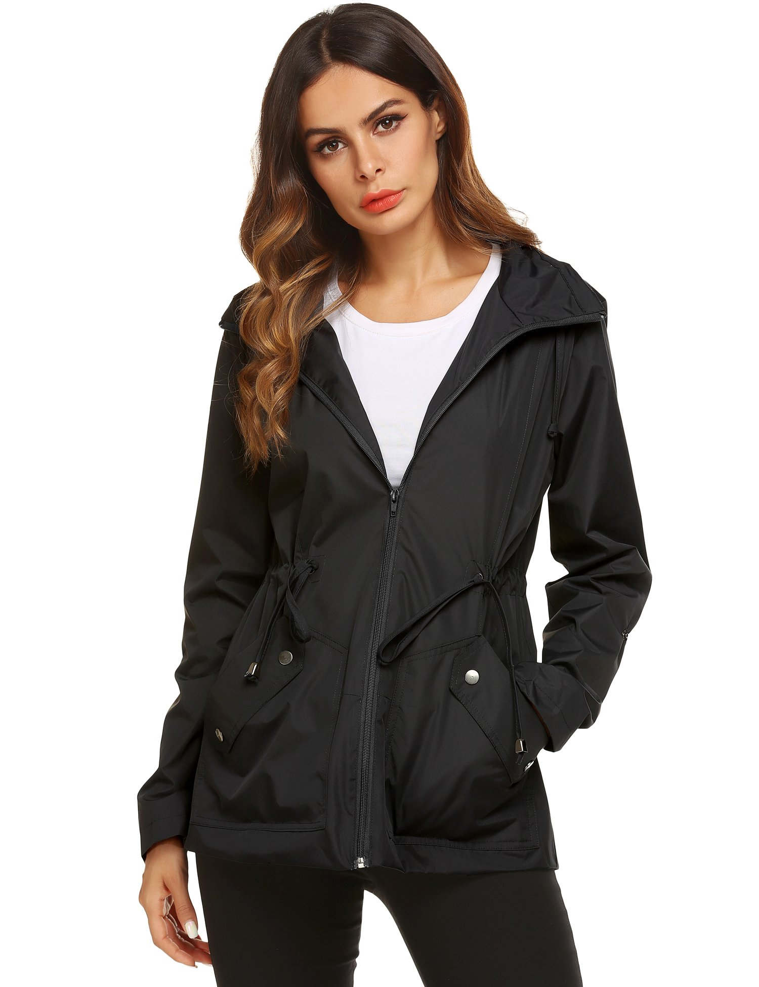 ZHENWEI Raincoat,Women's Lightweight Waterproof with Hood Rain Jacket Outdoor(Black,M) by ZHENWEI