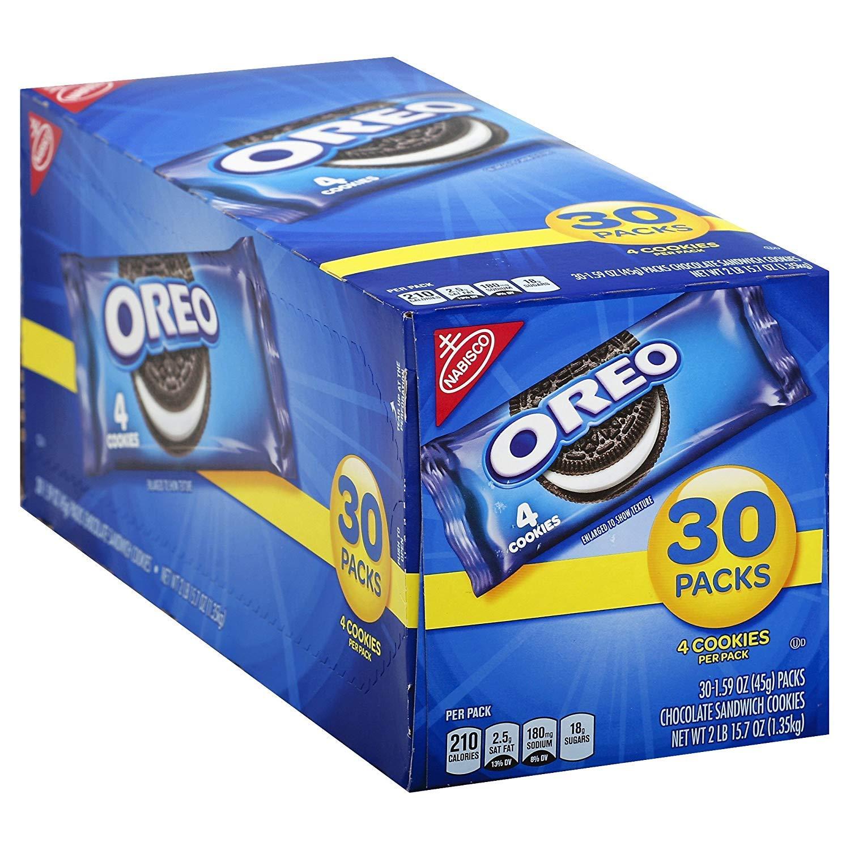 Oreo Chocolate Sandwich Cookies - 30 Snack Packs (120 Cookies Total) (3 Case(30 Snack Packs))