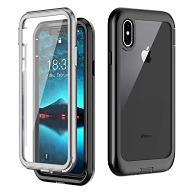 half off 8cb6e 382ab iPhone XS Case iPhone X Case,Built-in Screen Protector Cover 360 Degree  Protection Rugged Clear Bumper Case for iPhone XS/iPhone X(5.8 inch) ...