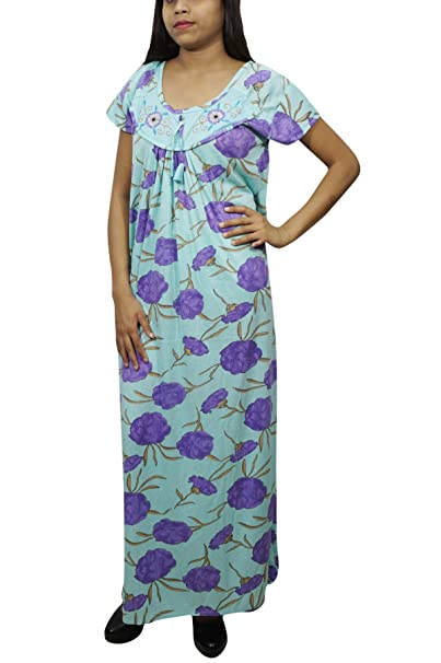 Indiatrendzs Women Long Maxi Nightgown Floral Printed Eveningwear Half  Sleeves Nighty (Purple Blue)  Amazon.in  Clothing   Accessories b12f879d5
