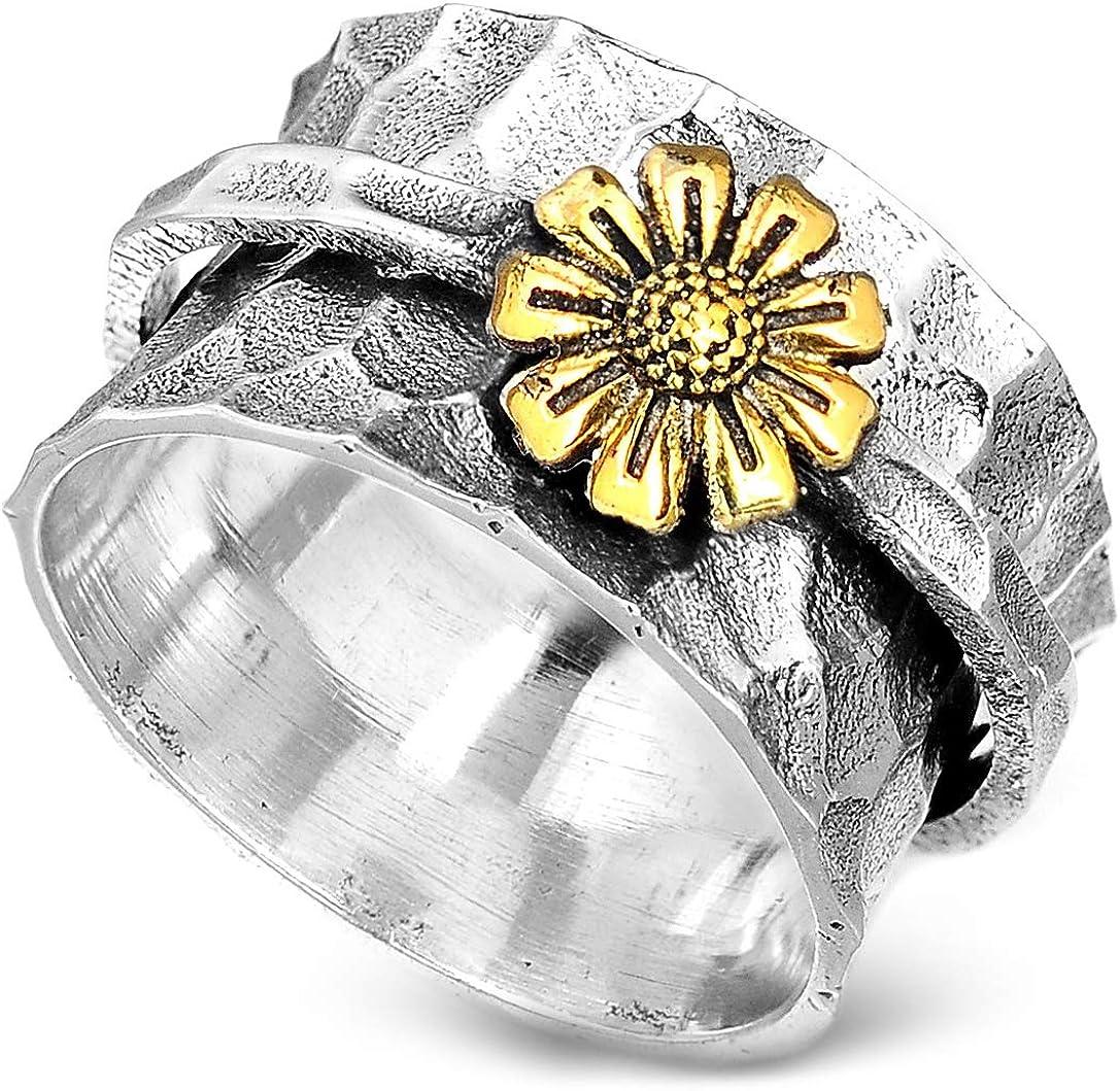 Dedication Boho-Magic Sunflower Ring Spinner Rings price 925 Women for Sterling