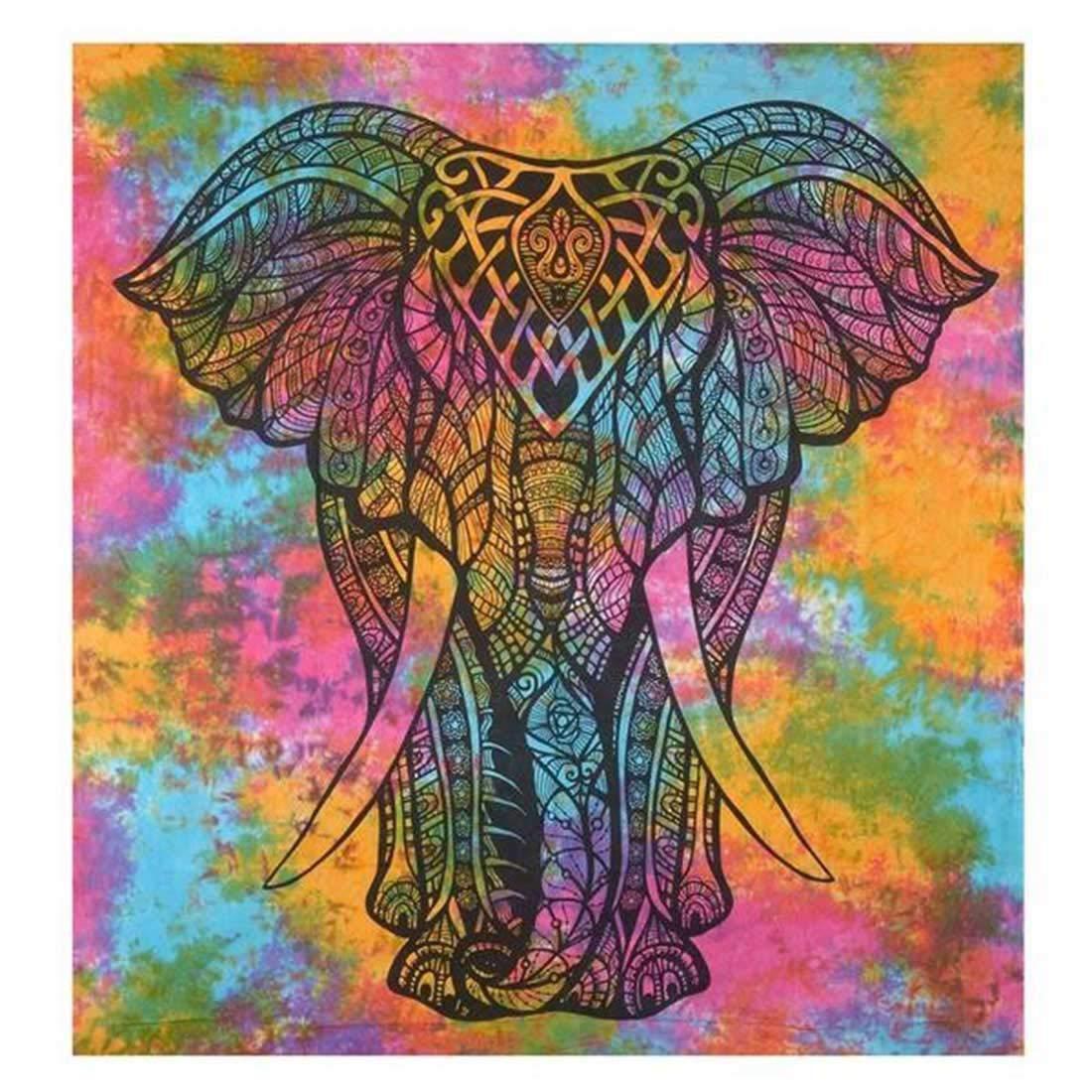 Blue Wall Hanging Indian Dorm Decor Hand Tie Dye Shibori Hippie Mandala Tapestry