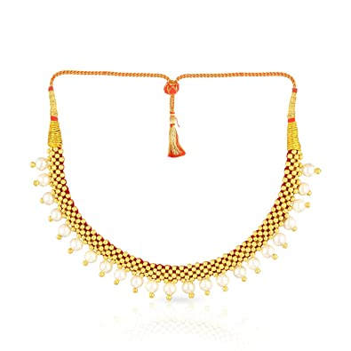 Malabar Gold and Diamonds Tushi Collection 22k (916) Yellow Gold and  Synthetic Pearl Choker Necklace for Women