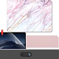 GMYLE New MacBook Air 13 Inch Case A1932 2018 Compatible Touch ID Retina Display 4 in 1 Bundle, Hard Shell, Privacy Webcam Cover Slide, Screen Protector and Keyboard Cover Set - Pink Marble