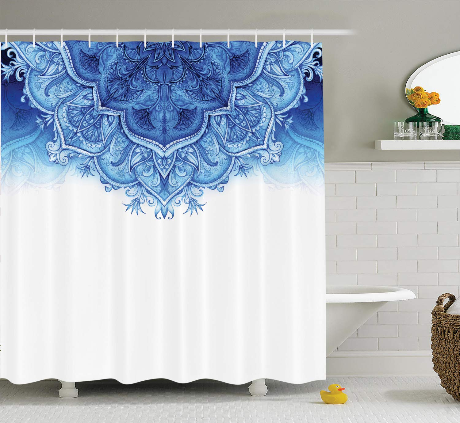 Ambesonne Moroccan Shower Curtain, Floral Artwork Vintage Style with Eastern Architectural Elements Oriental Pattern, Fabric Bathroom Decor Set with Hooks, 75 Inches Long, Blue White